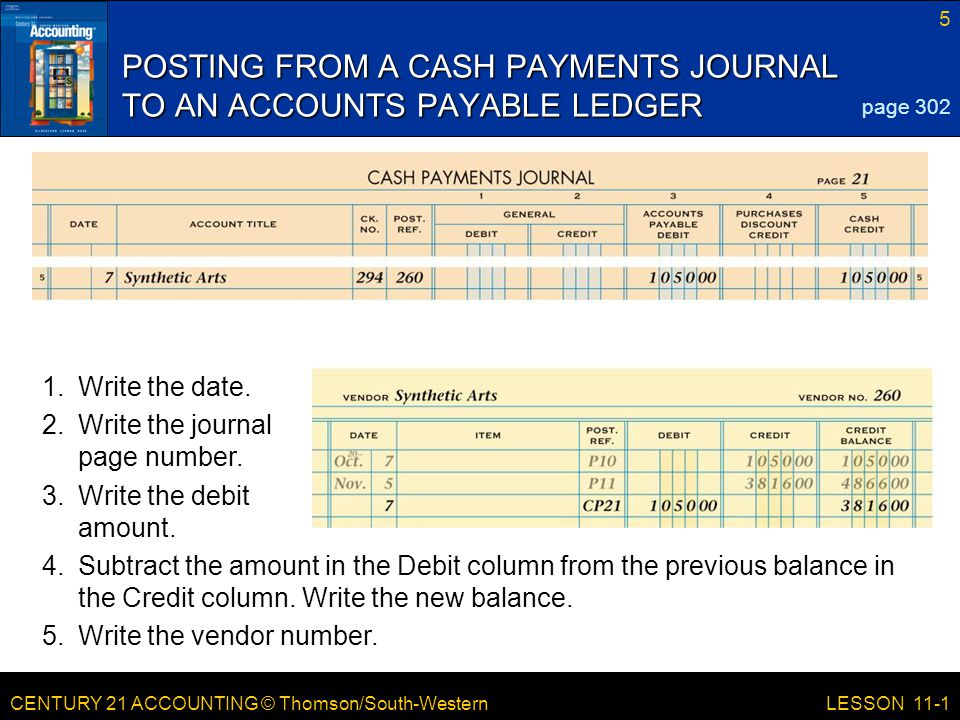 CENTURY 21 ACCOUNTING © Thomson/South-Western 5 LESSON 11-1 POSTING FROM A CASH PAYMENTS JOURNAL TO AN ACCOUNTS PAYABLE LEDGER page 302 4.Subtract the