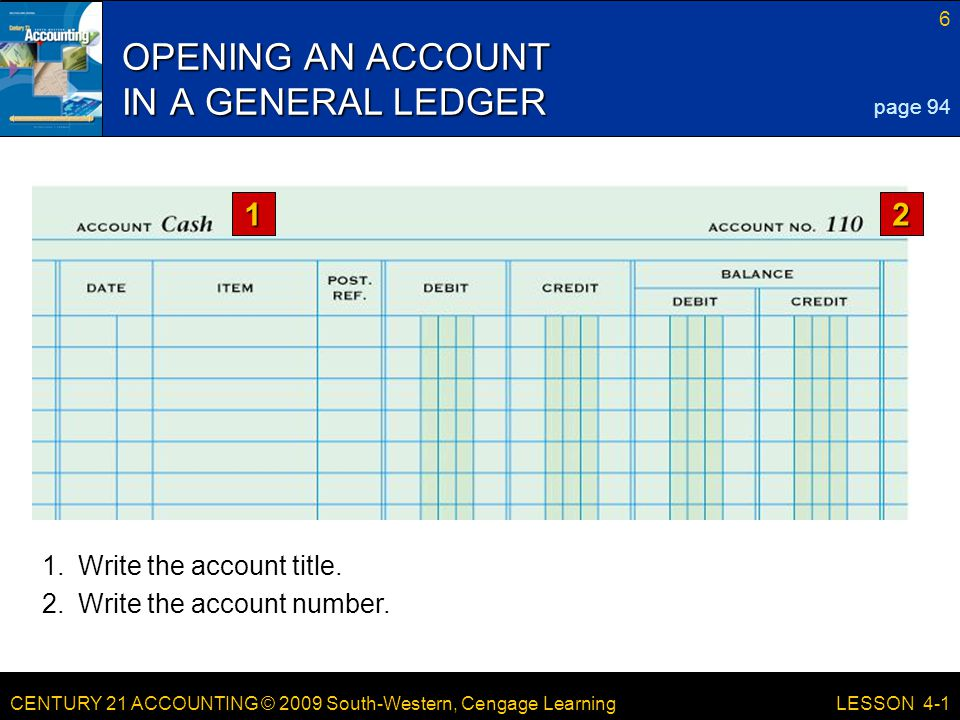 CENTURY 21 ACCOUNTING © 2009 South-Western, Cengage Learning 6 LESSON 4-1 1.Write the account title.
