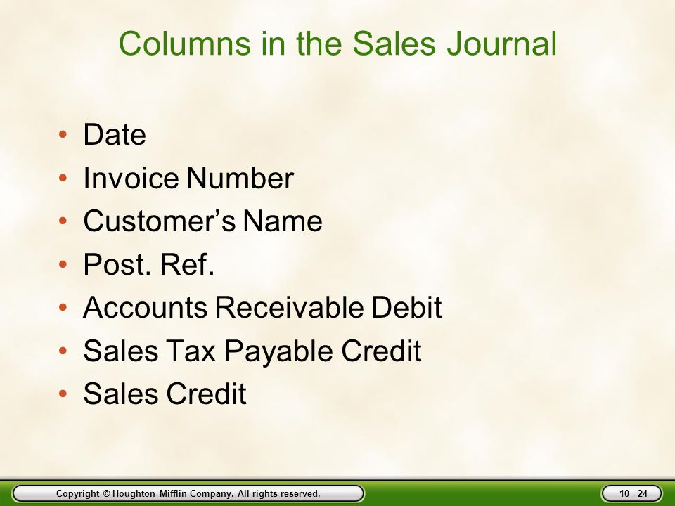 Copyright © Houghton Mifflin Company. All rights reserved. 10 - 24 Columns in the Sales Journal Date Invoice Number Customer's Name Post. Ref. Account