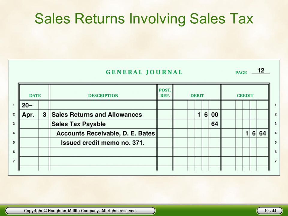 Copyright © Houghton Mifflin Company. All rights reserved. 10 - 44 Sales Returns Involving Sales Tax