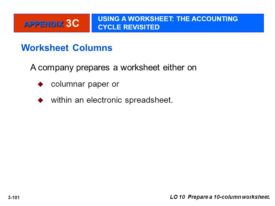 3-101 LO 10 Prepare a 10-column worksheet. A company prepares a worksheet either on  columnar paper or  within an electronic spreadsheet. Worksheet