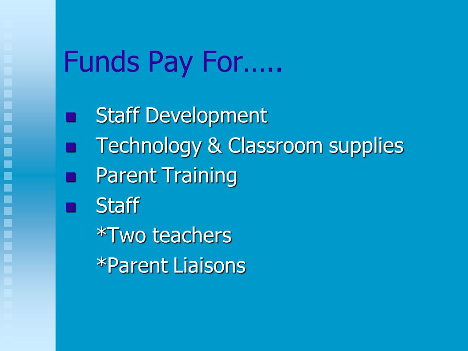 Funds Pay For…..