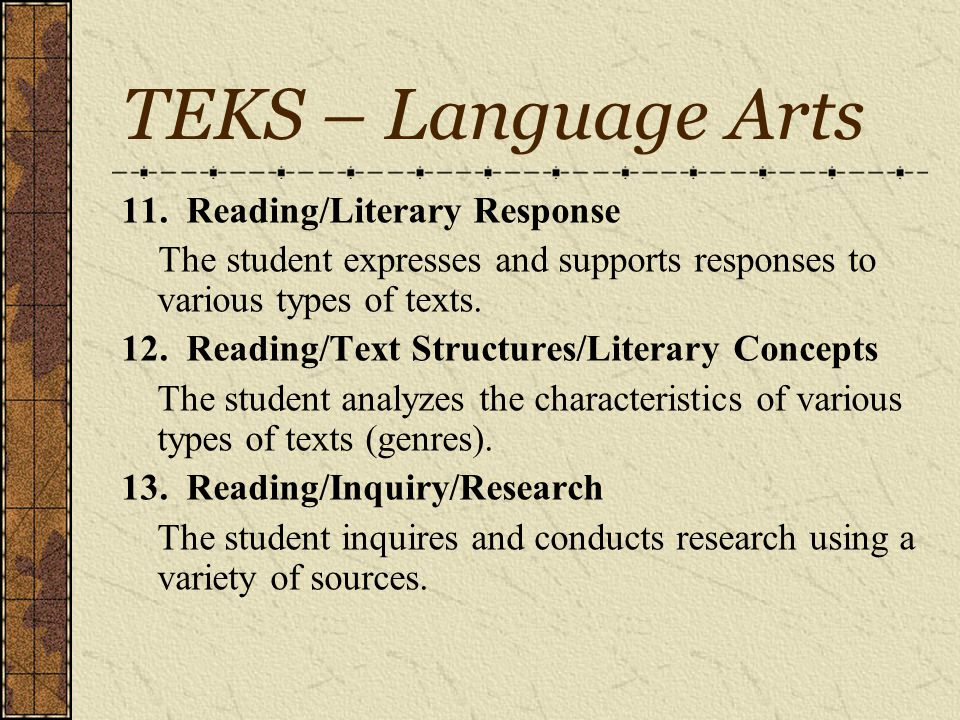 TEKS – Language Arts Language Arts 8.