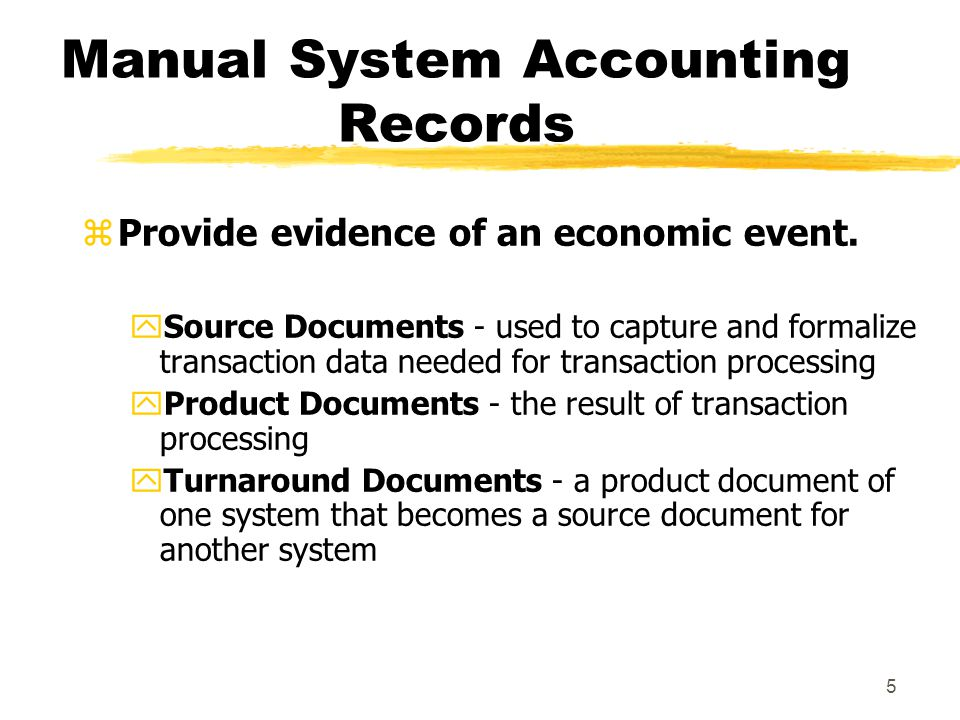 6 Manual System Accounting Records zJournals - a record of chronological entry yspecial journals - specific classes of transactions that occur in high frequency ygeneral journal - nonrecurring, infrequent, and dissimilar transactions zLedger - a book of financial accounts ygeneral ledger - shows activity for each account listed on the chart of accounts ysubsidiary ledger - shows activity by detail for each account type