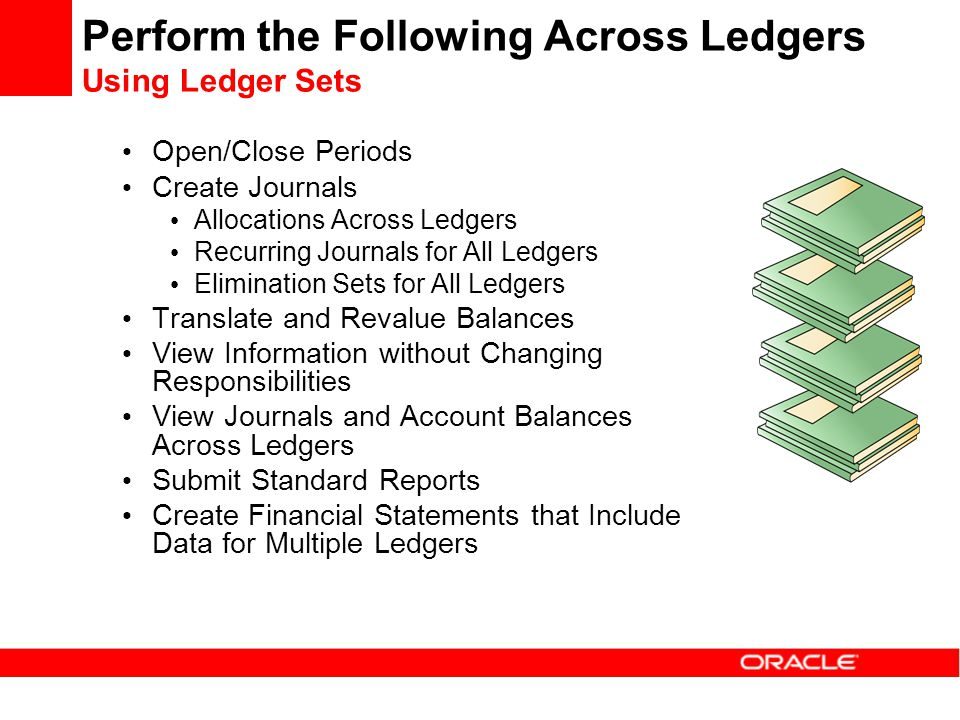 Perform the Following Across Ledgers Using Ledger Sets Open/Close Periods Create Journals Allocations Across Ledgers Recurring Journals for All Ledger