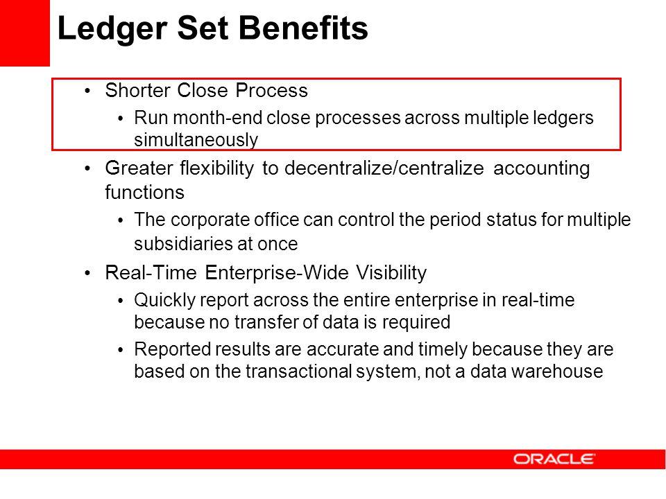 Ledger Set Benefits Shorter Close Process Run month-end close processes across multiple ledgers simultaneously Greater flexibility to decentralize/cen
