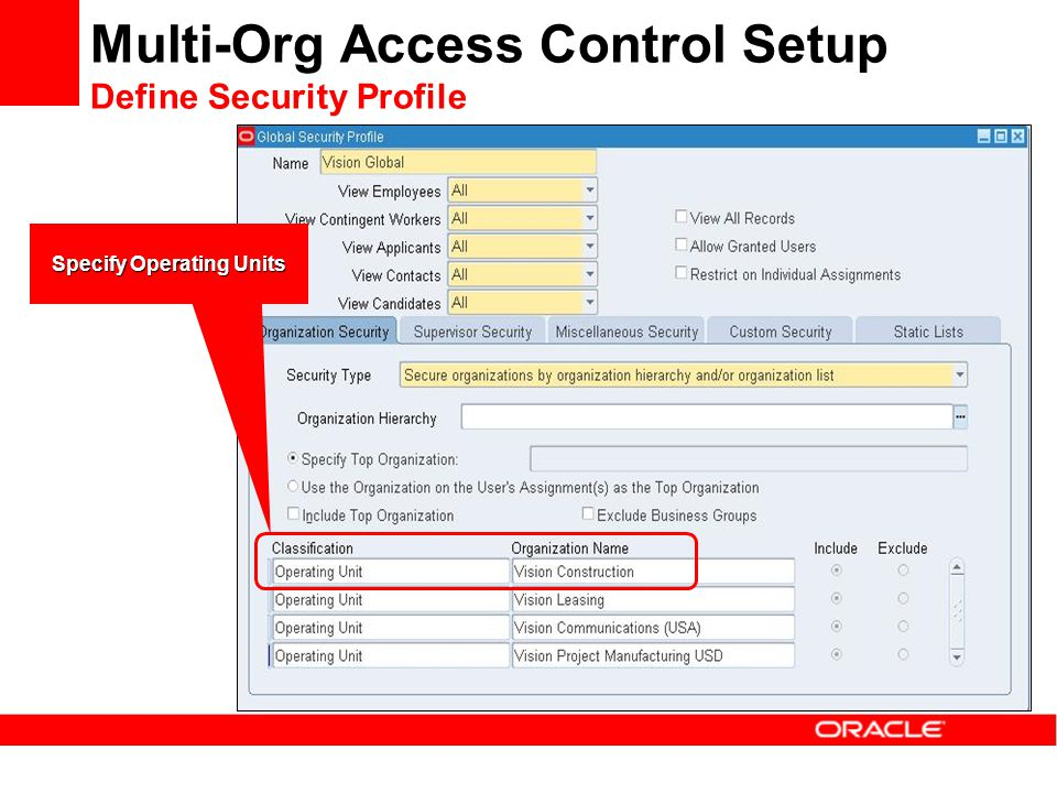 Multi-Org Access Control Setup Define Security Profile Classify Organization as operating unit Specify Operating Units
