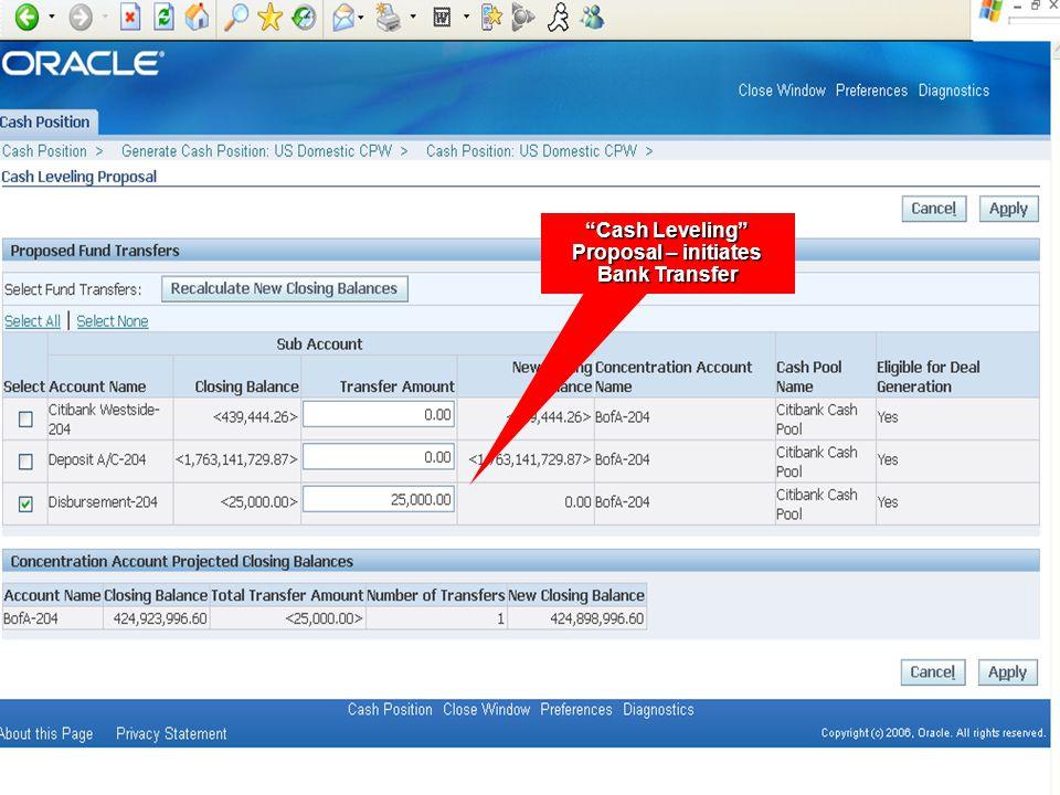 """Cash Leveling"" Proposal – initiates Bank Transfer"