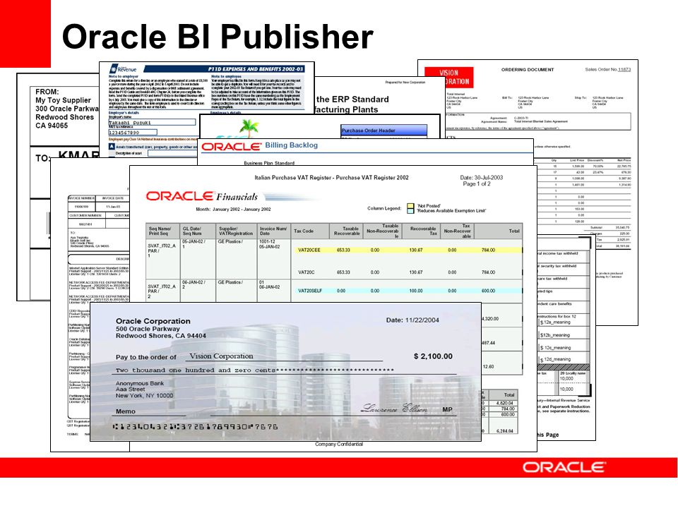Many, many, many Standard Reports Multiple formats per report Merge Data with Contract Terms User-defined templates Boardroom Quality Output Oracle BI