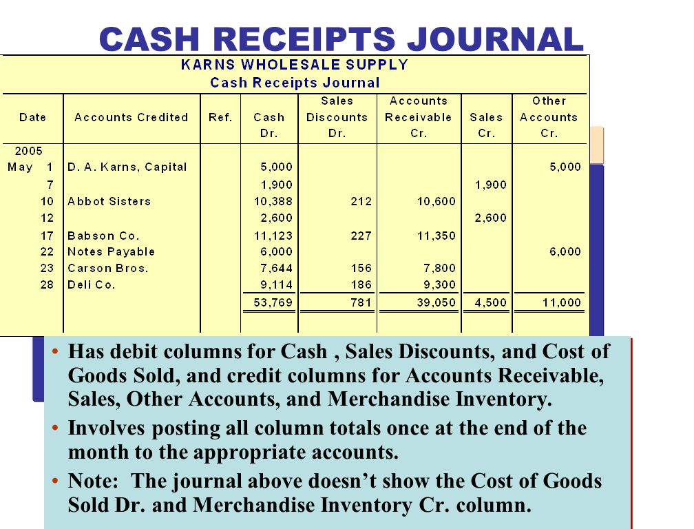 Has debit columns for Cash, Sales Discounts, and Cost of Goods Sold, and credit columns for Accounts Receivable, Sales, Other Accounts, and Merchandis