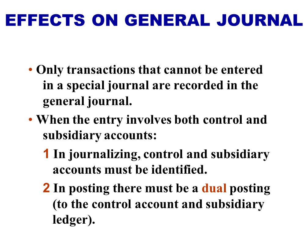 Only transactions that cannot be entered in a special journal are recorded in the general journal. When the entry involves both control and subsidiary