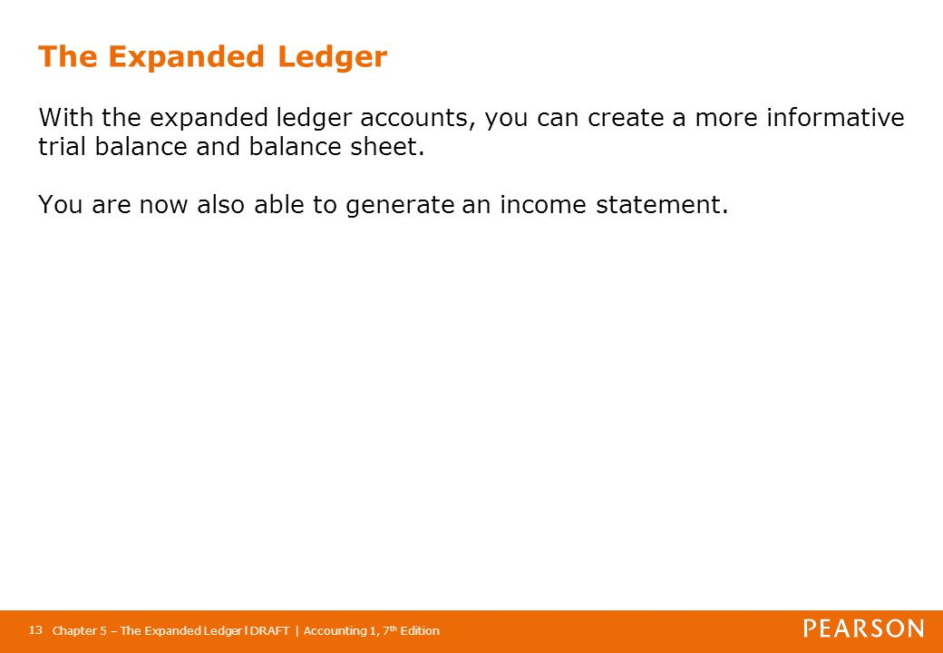 Chapter 5 – The Expanded Ledger l DRAFT | Accounting 1, 7 th Edition 13 The Expanded Ledger With the expanded ledger accounts, you can create a more i