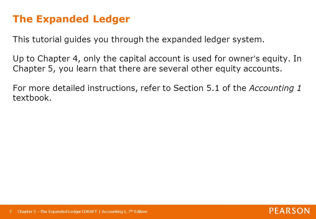Chapter 5 – The Expanded Ledger l DRAFT | Accounting 1, 7 th Edition 23 The Expanded Ledger The new calculation looks at beginning capital, plus net income, less drawings, plus increase in capital.