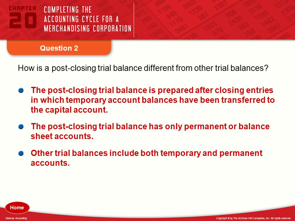 Copyright © by The McGraw-Hill Companies, Inc. All rights reserved.Glencoe Accounting Question 2 How is a post-closing trial balance different from ot
