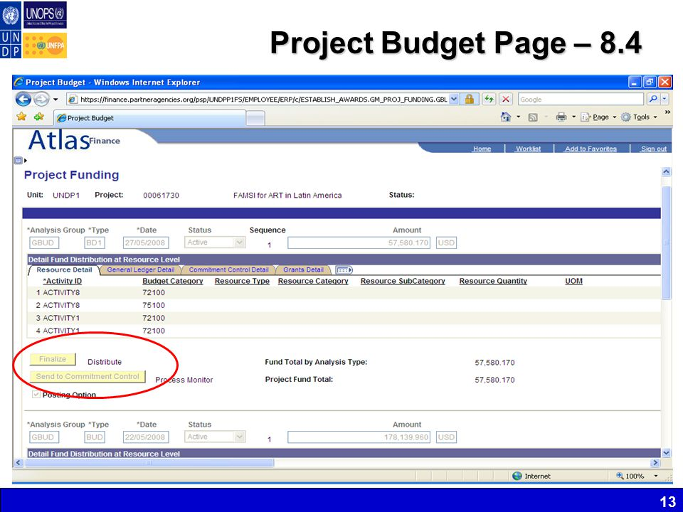 Project Budget Page – 8.4 13