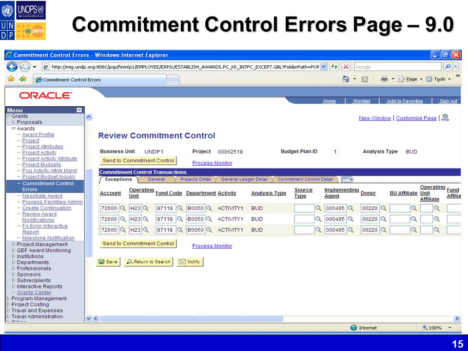 Commitment Control Errors Page – 9.0 15
