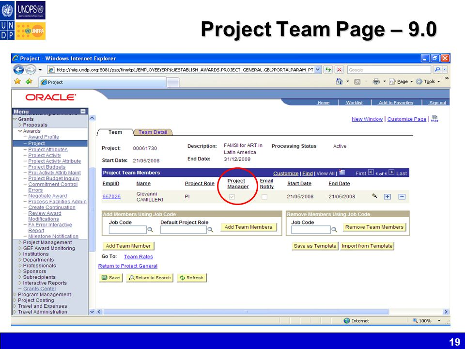 Project Team Page – 9.0 19