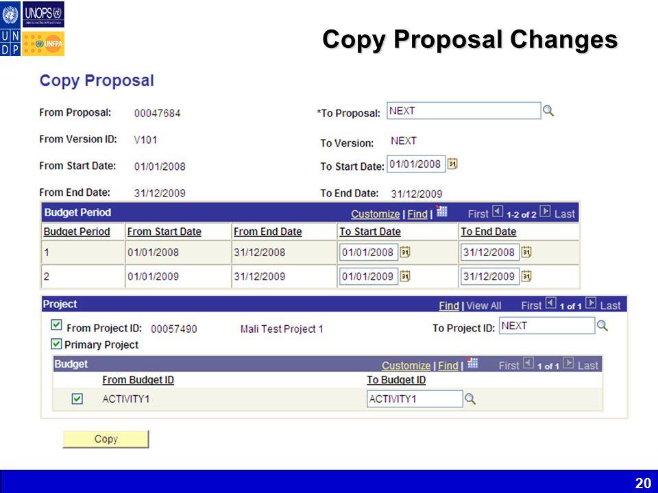 20 Copy Proposal Changes