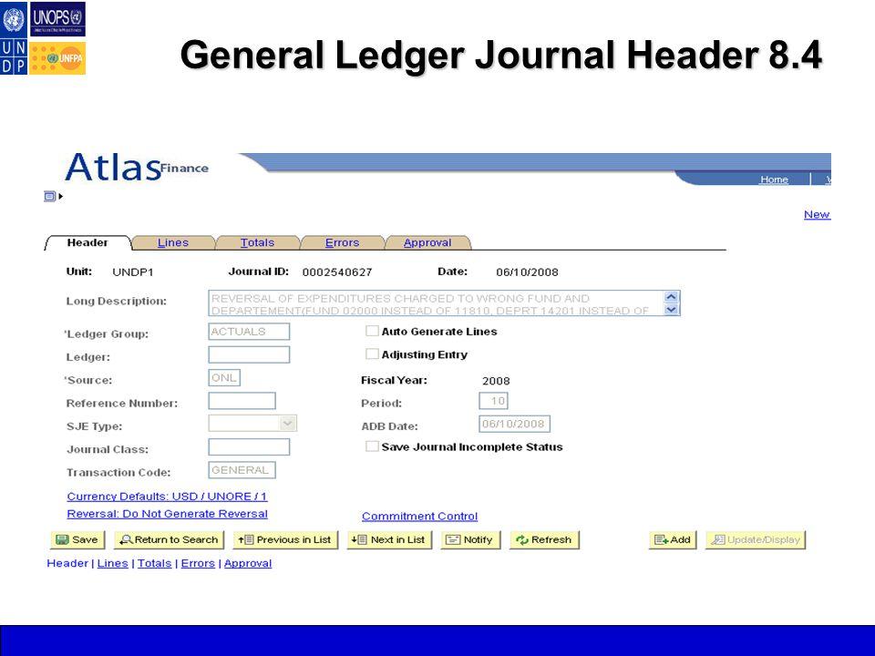 General Ledger Journal Header 8.4