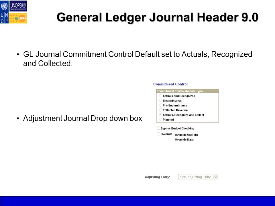 General Ledger Journal Header 9.0 GL Journal Commitment Control Default set to Actuals, Recognized and Collected.
