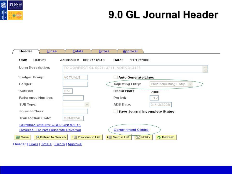9.0 GL Journal Header