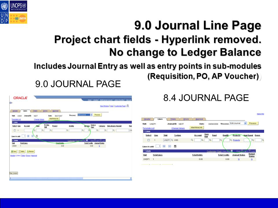 9.0 Journal Line Page Project chart fields - Hyperlink removed.