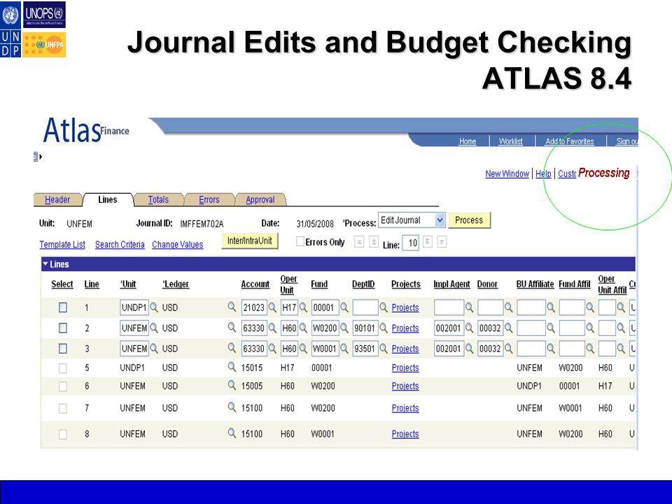 Journal Edits and Budget Checking ATLAS 8.4