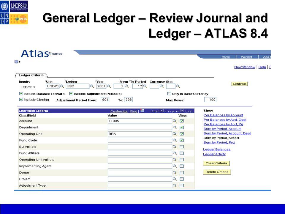 General Ledger – Review Journal and Ledger – ATLAS 8.4