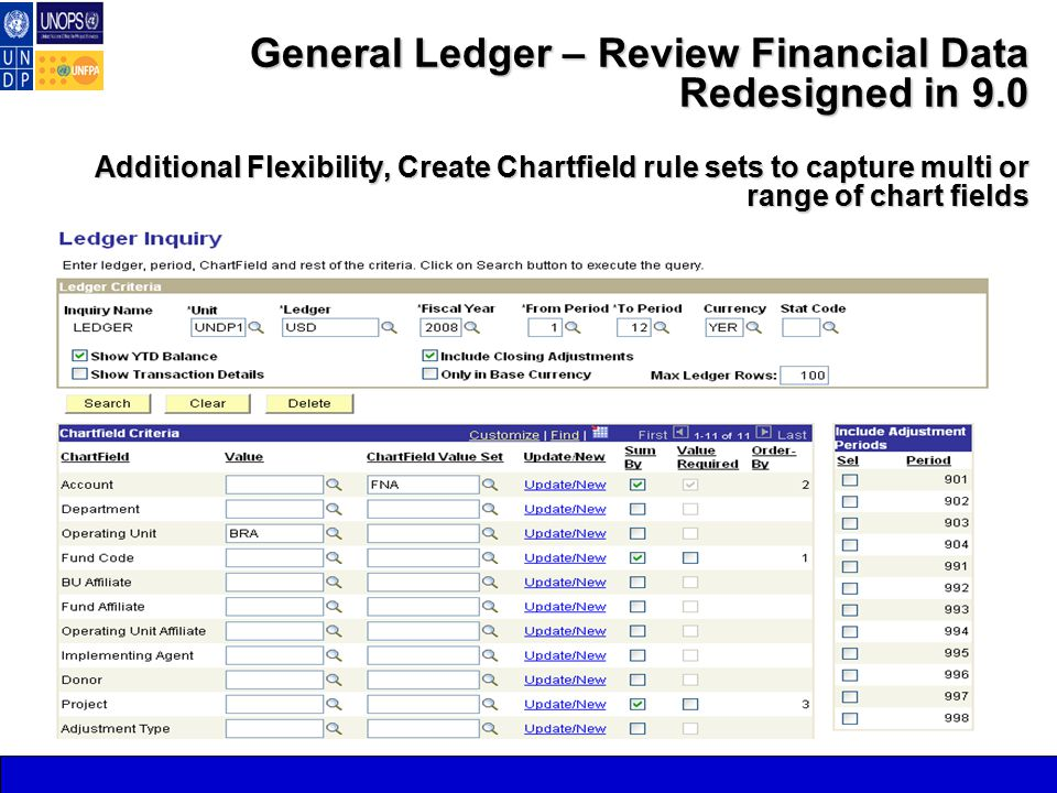 General Ledger – Review Financial Data Redesigned in 9.0 Additional Flexibility, Create Chartfield rule sets to capture multi or range of chart fields