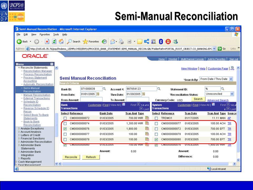 Semi-Manual Reconciliation