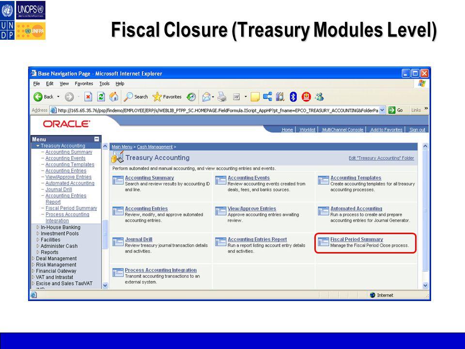 Fiscal Closure (Treasury Modules Level)