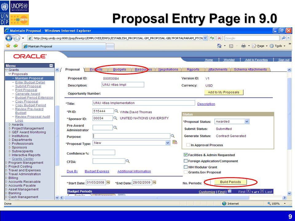 Proposal Entry Page in 9.0 9