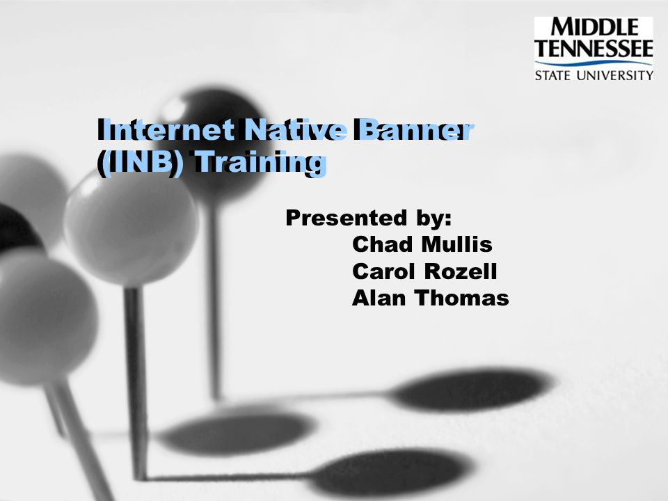 Internet Native Banner (INB) Training Presented by: Chad Mullis Carol Rozell Alan Thomas Internet Native Banner (INB) Training