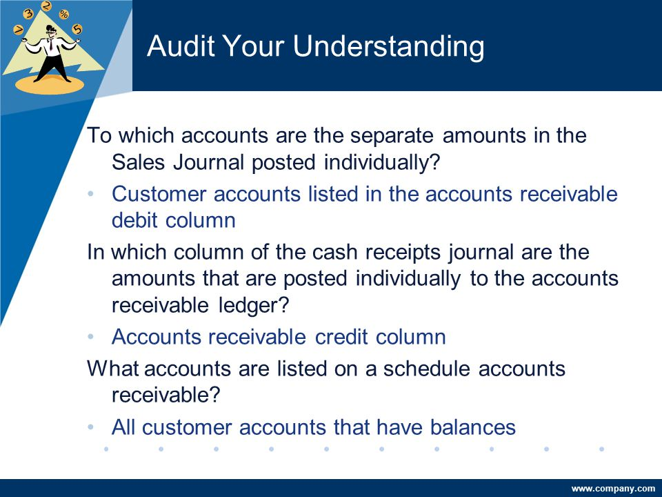 www.company.com Audit Your Understanding To which accounts are the separate amounts in the Sales Journal posted individually? Customer accounts listed