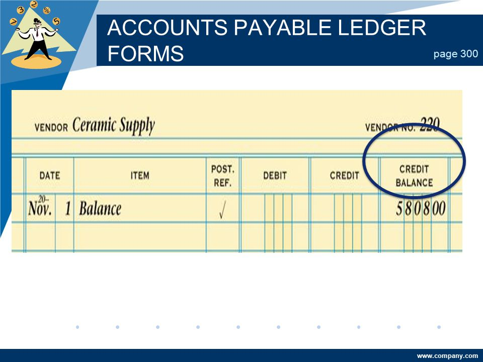 www.company.com ACCOUNTS PAYABLE LEDGER FORMS page 300