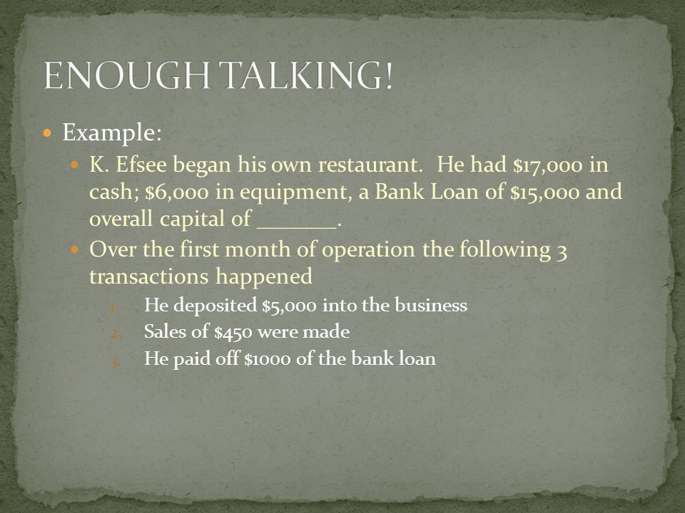 Example: K. Efsee began his own restaurant.
