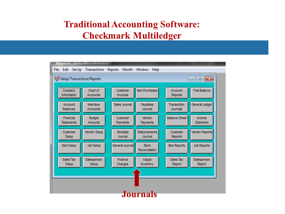 Traditional Accounting Software: Checkmark Multiledger Journals