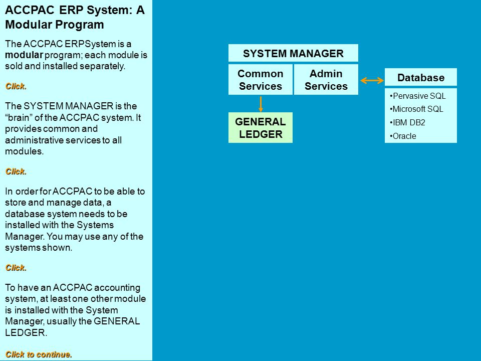 ACCPAC ERP System: A Modular Program The ACCPAC ERPSystem is a modular program; each module is sold and installed separately.Click. The SYSTEM MANAGER
