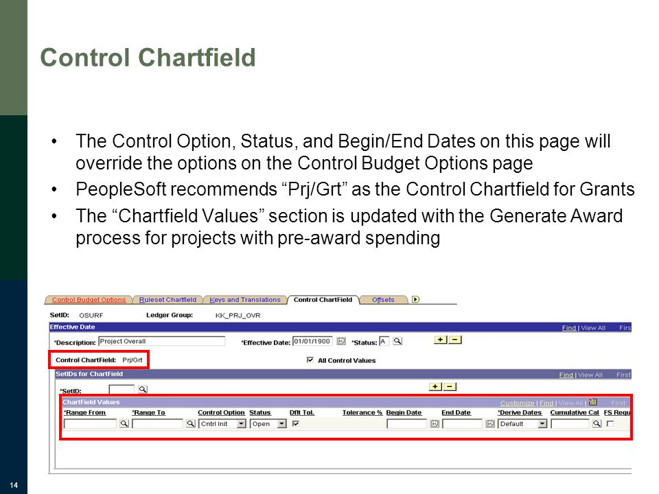 14 Control Chartfield The Control Option, Status, and Begin/End Dates on this page will override the options on the Control Budget Options page People