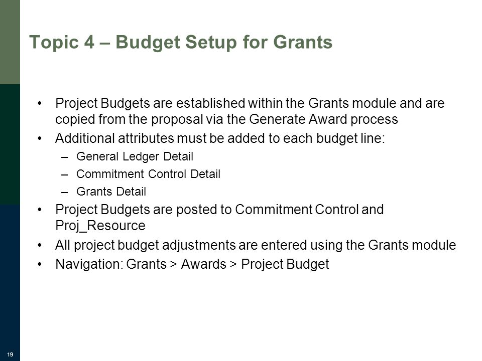 19 Topic 4 – Budget Setup for Grants Project Budgets are established within the Grants module and are copied from the proposal via the Generate Award