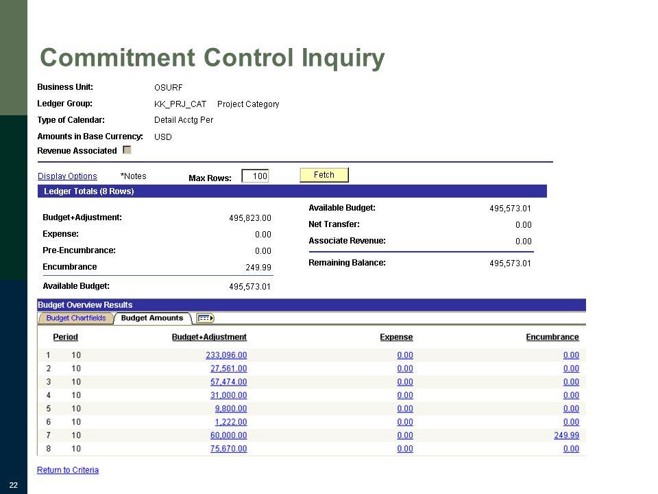 22 Commitment Control Inquiry