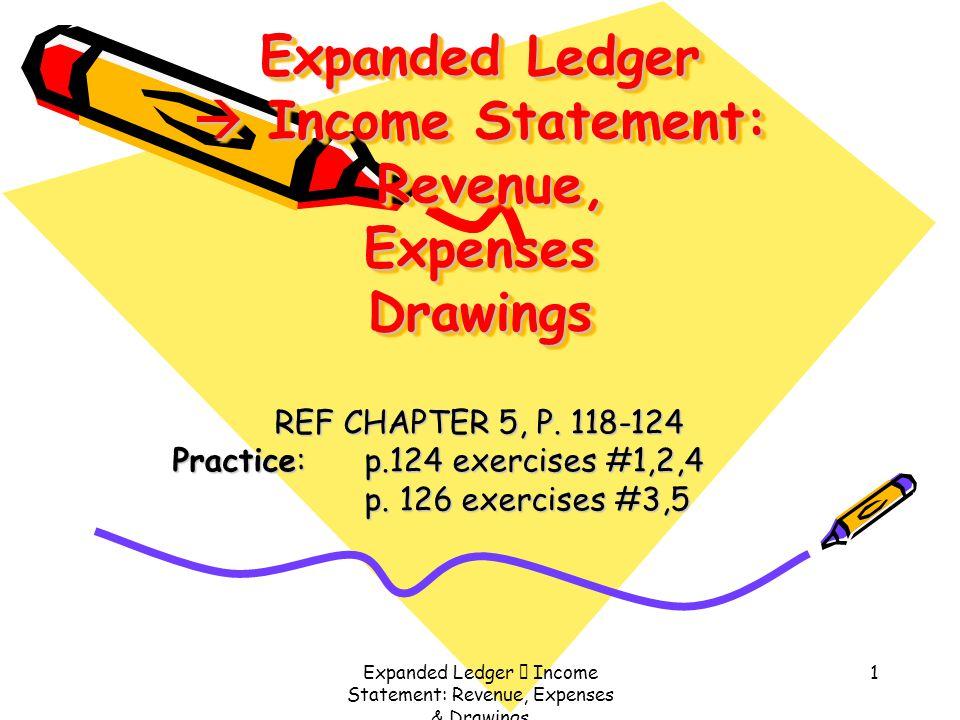 Expanded Ledger  Income Statement: Revenue, Expenses & Drawings 1 Expanded Ledger  Income Statement: Revenue, Expenses Drawings REF CHAPTER 5, P. 11