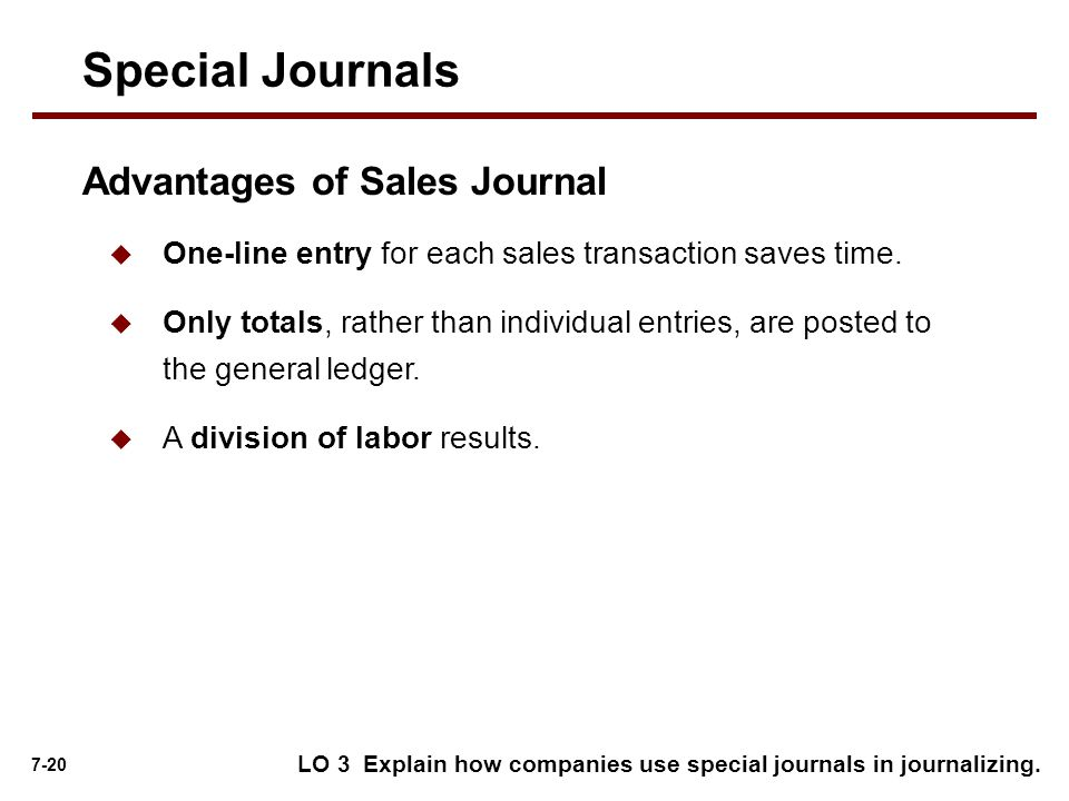 7-20  One-line entry for each sales transaction saves time.