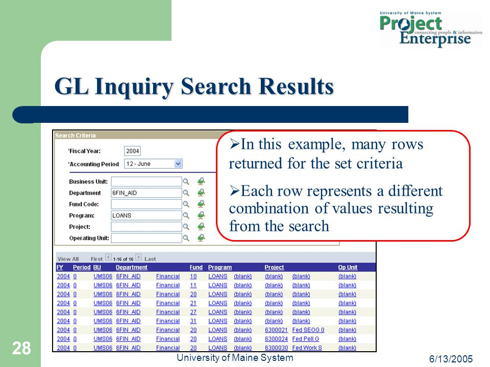 6/13/2005 University of Maine System 28 GL Inquiry Search Results   In this example, many rows returned for the set criteria   Each row represents a different combination of values resulting from the search