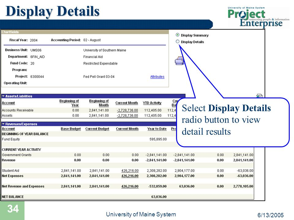 6/13/2005 University of Maine System 34 Display Details Select Display Details radio button to view detail results