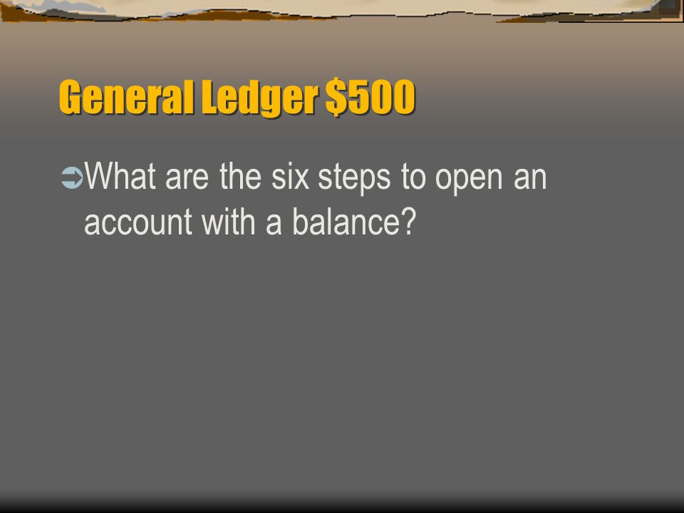 General Ledger $500  (1) Write the account name at the top of the ledger account form.