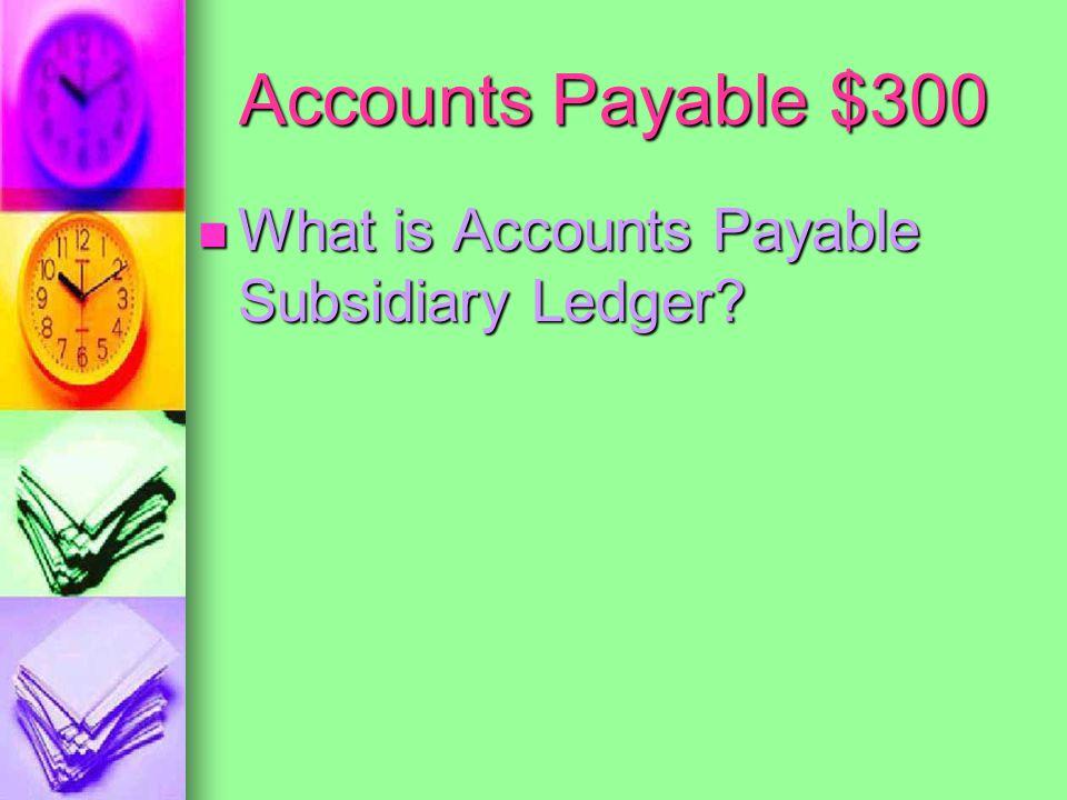 Accounts Payable $300 A record of the total vendor account balances A record of the total vendor account balances
