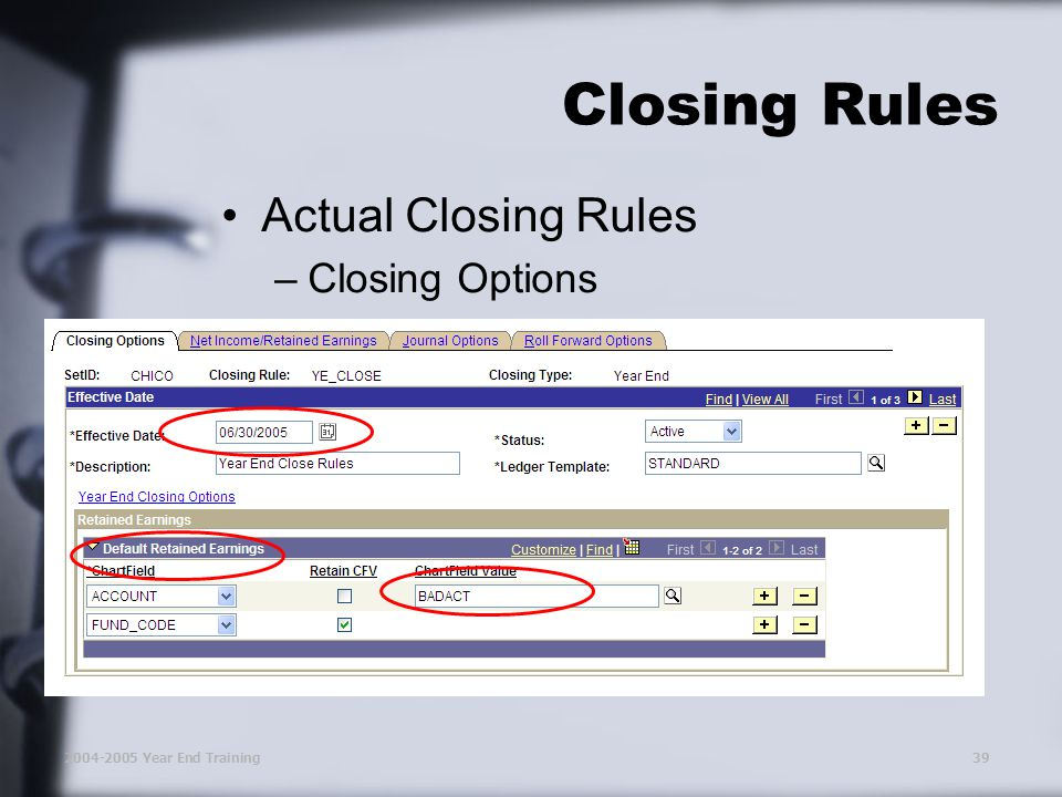 2004-2005 Year End Training39 Closing Rules Actual Closing Rules –Closing Options