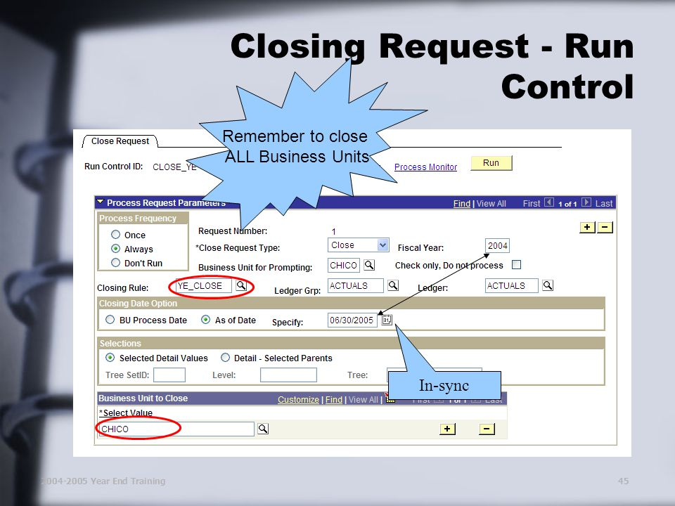 2004-2005 Year End Training45 Closing Request - Run Control In-sync Remember to close ALL Business Units