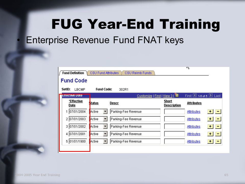 2004-2005 Year End Training65 FUG Year-End Training Enterprise Revenue Fund FNAT keys